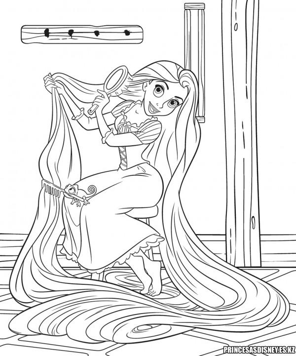 Rapunzel-Peinandose-Dibujo