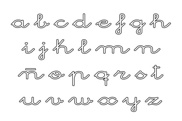 Letra E Para Colorear Cursiva