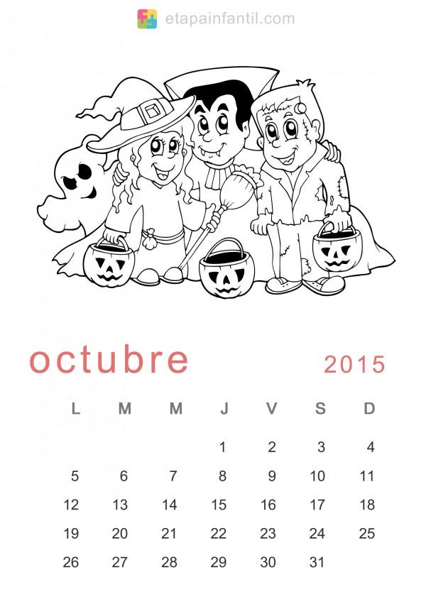 Calendarios Octubre 2015 Para Descargar Imprimir Y Pintar