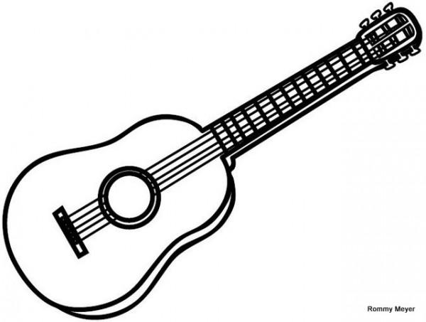 Dibujos De Instrumentos Musicales Para Imprimir Y Colorear: Imágenes De Guitarras Para Colorear