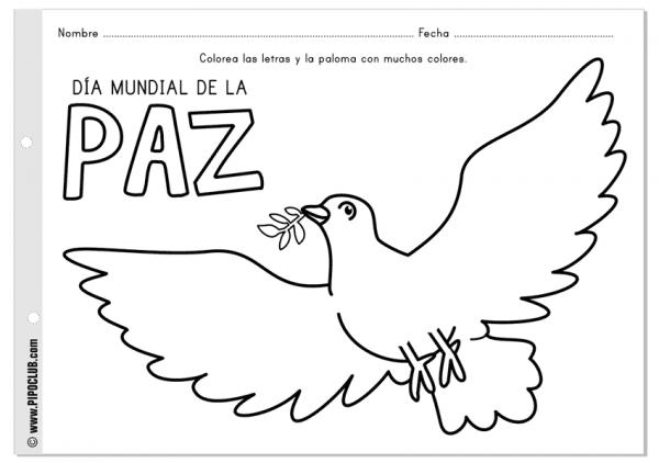Dibujos para pintar del Día Internacional de la Paz | Colorear imágenes