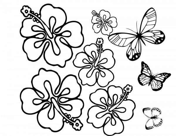 Dibujos De Flores Para Recortar Y Colorear: Dibujos Para Pintar De Flores Y Mariposas De Primavera