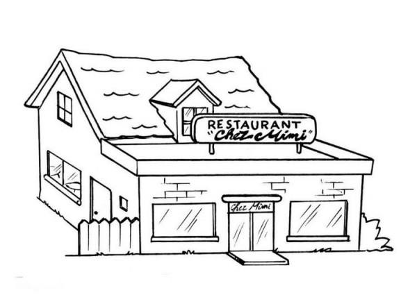 dibujos de restaurantes para imprimir y colorear