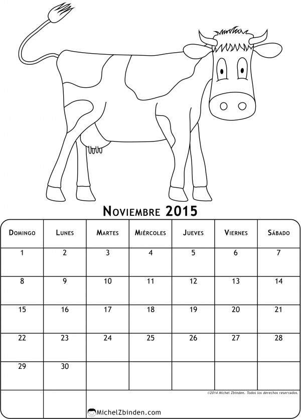 calendario-noviembre-2015-dibujo-para-colorear-vaca-d