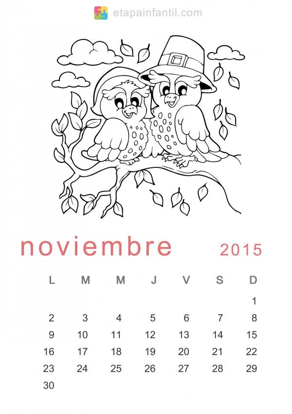 calendarios del mes de noviembre 2015 para imprimir y