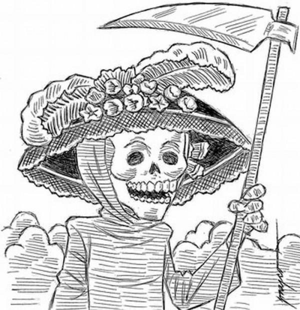 La Catrina Del Día De Los Muertos Para Pintar Colorear Imágenes