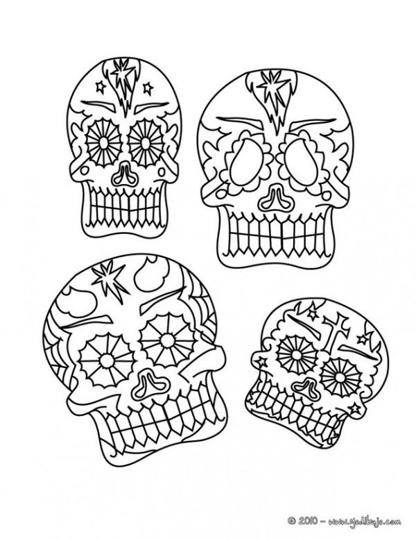 Dibujos de calaveras mexicanas del Día de los Muertos para colorear ...