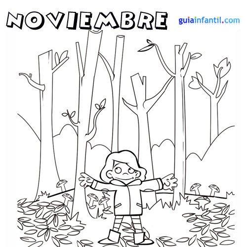 Dibujos para imprimir y pintar del Mes de Noviembre | Colorear imágenes