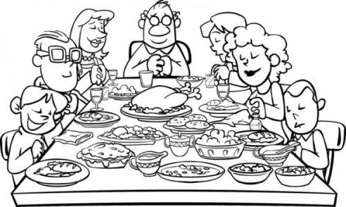 Celebración Del Día De Acción De Gracias Para Colorear