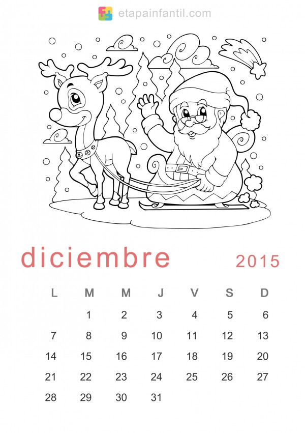 calendarios diciembre 2015 con dibujos para pintar