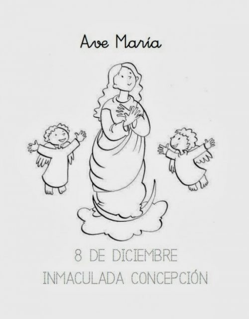 Dibujos Para Pintar Del Dia De La Inmaculada Concepcion De Maria