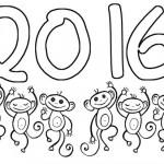 Divertidos dibujos del Año 2016 para imprimir y colorear