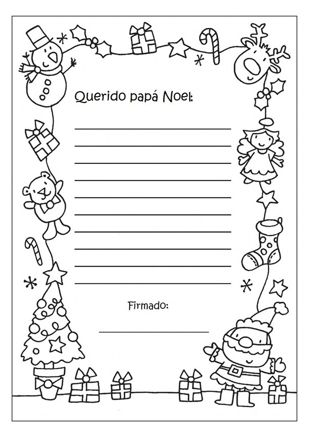 Cartas para Papá Noel con dibujos navideños para colorear | Colorear ...