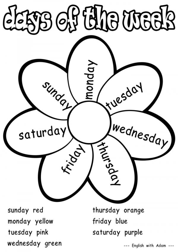 Los d as de la semana para colorear