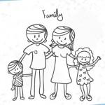 Dibujos de familias para colorear
