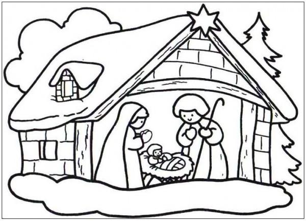 Dibujos del portal de bel n para imprimir y pintar for Adornos navidenos para colorear y recortar