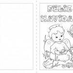 Tarjetas plegables de Felíz Navidad para imprimir y pintar