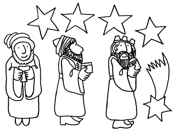 Dibujos Para Colorear De Los Tres Reyes Magos: Dibujos De Melchor, Gaspar Y Baltasar Para Colorear: Tres