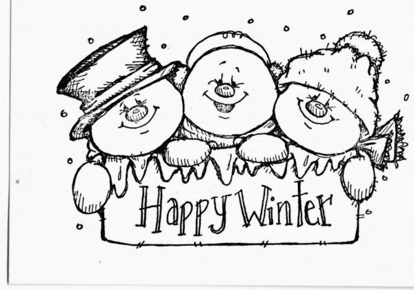 Dibujos De Bienvenido Invierno Para Colorear Muñecos De