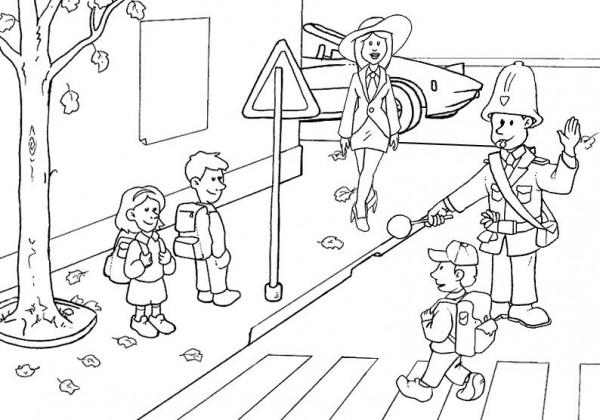 Dibujos infantiles de educación vial para pintar | Colorear imágenes