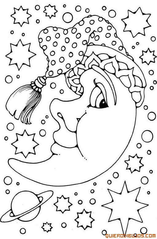 Bonitos dibujos de la luna para imprimir y colorear | Colorear imágenes