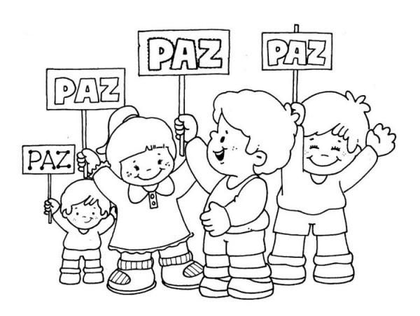 Dibujos Infantiles Escolares Para Colorear: Día Escolar De La No Violencia Y La Paz