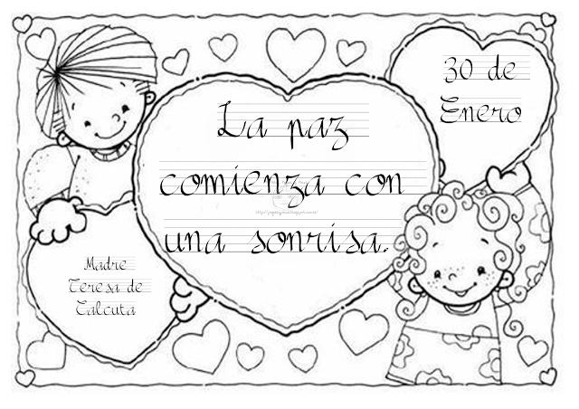 30 de enero – Día Escolar de la No Violencia y la Paz – Dibujos para ...