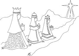 Los Tres Reyes Magos Y La Estrella De Belén Para Pintar Colorear