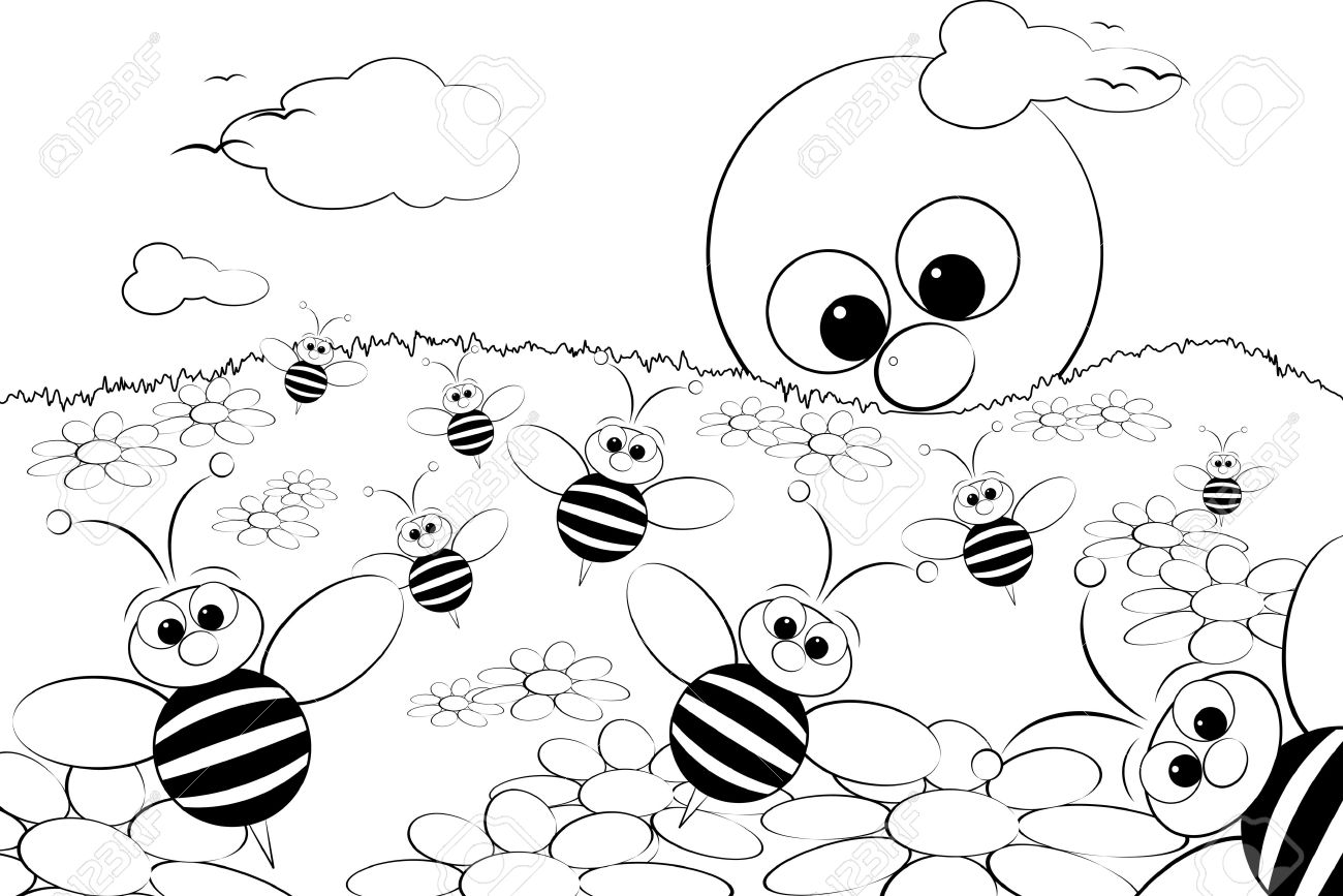 5212978-Coloring-page-for-kids-Good-morning-with-flowers-bees-and-sun-Stock-Vector