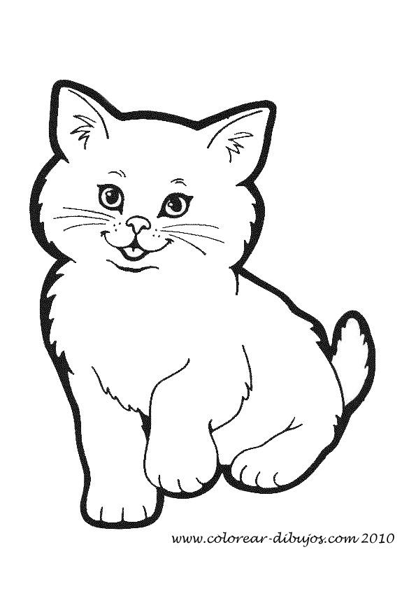 Perfecto Página Para Colorear De Un Gato Molde - Dibujos Para ...