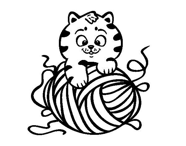 gato-con-ovillo-de-lana-colorear