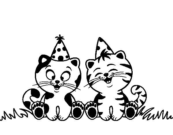 gatos-de-cumpleanos-colorear