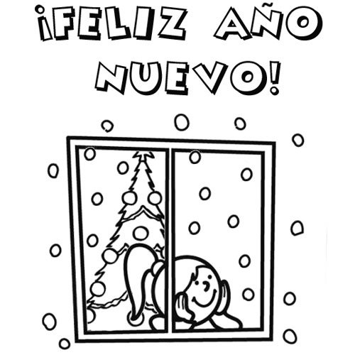 dibujos-de-feliz-ano-nuevo-2014-para-pintar-1328-4-postal-con-nina-y-arbol-de-navidad-para-colorear1