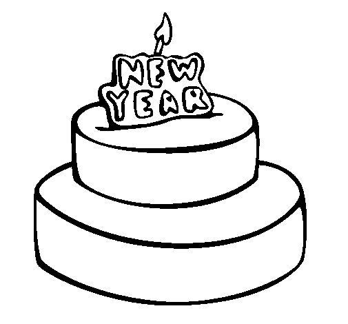 pastel-de-ano-nuevo-colorear
