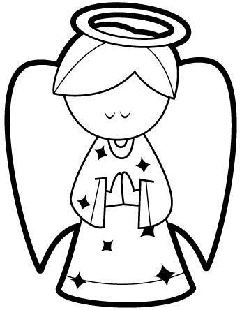 Dibujo de angel de navidad para colorear