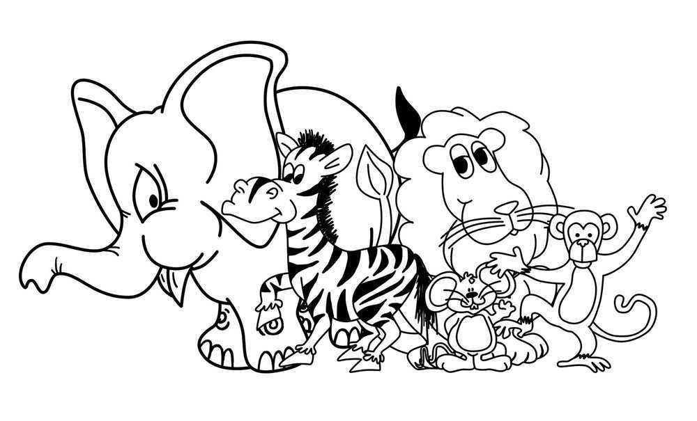 Fantástico Colorear Animales De La Jungla De Bebé Elaboración ...