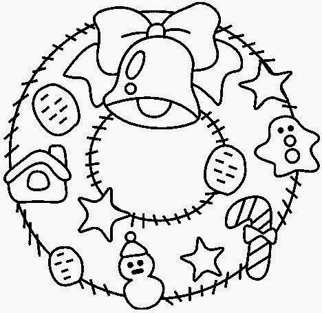 Dibujos Para Colorear Corona De Navidad | Bernadettes