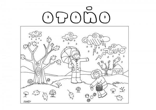 Dibujo De La Palabra Otoño Para Colorear Con Los Niños: Imágenes De Bienvenido Otoño Para Colorear