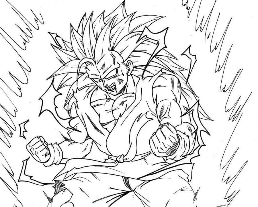 Goku Super Sayayin Dios Azul Para Colorear