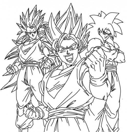 Dibujos de goku y sus transformaciones para colorear - Pintura instinto ...