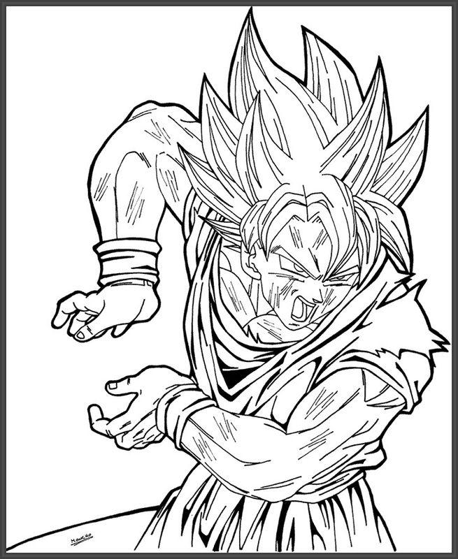 Encantador Dragon Ball Z Goku Para Colorear Bosquejo - Dibujos Para ...