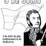 Imágenes del 9 de Julio para colorear sobre la Independencia de Argentina
