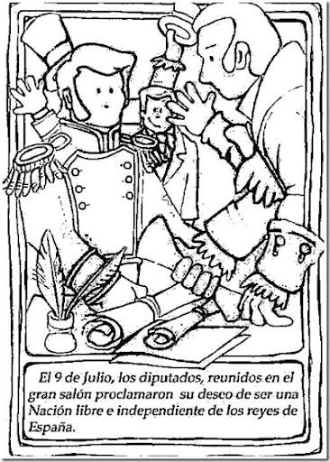 dibujos para colorear sobre el 9 de julio de 1816