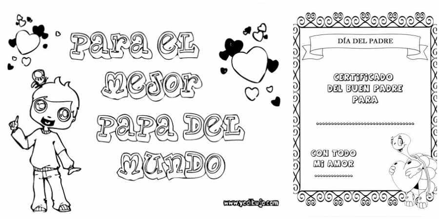Dibujos con frases para colorear y regalar a Papá en su día ...