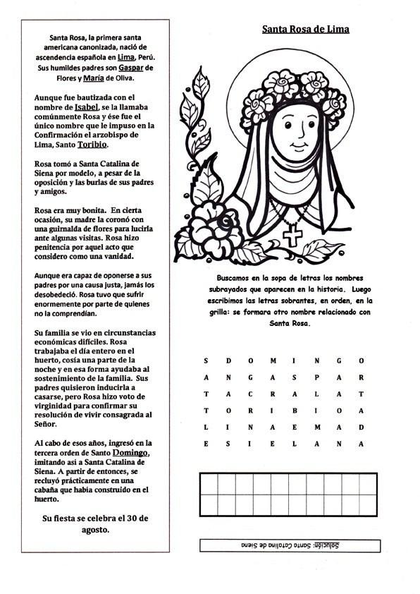 Dibujos De Santa Rosa De Lima Imágenes Para Colorear