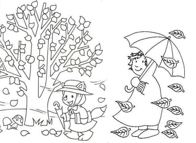 Dibujos De Arboles Coloreados: Dibujos De Otoño Para Colorear Imágenes