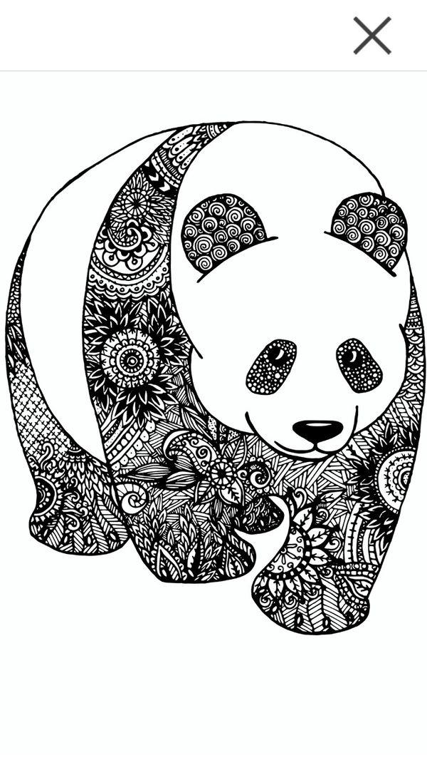 60 mandalas de animales para colorear zentangles colorear im genes - Coloriage panda roux mandala ...