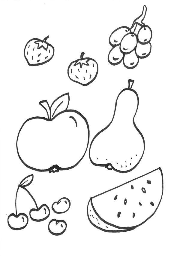 Dorable Páginas Para Colorear De Frutas Para Niños En Edad ...