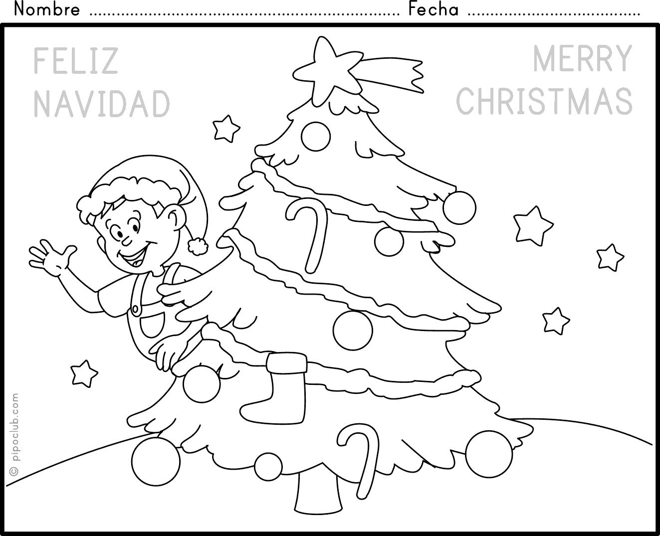 Tarjetas de Navidad para colorear, dibujos con mensajes de amor y ...
