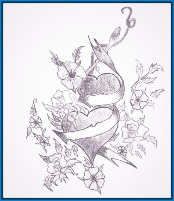 Hermoso dibujo hecho a lápiz de flores enredadas con corazones
